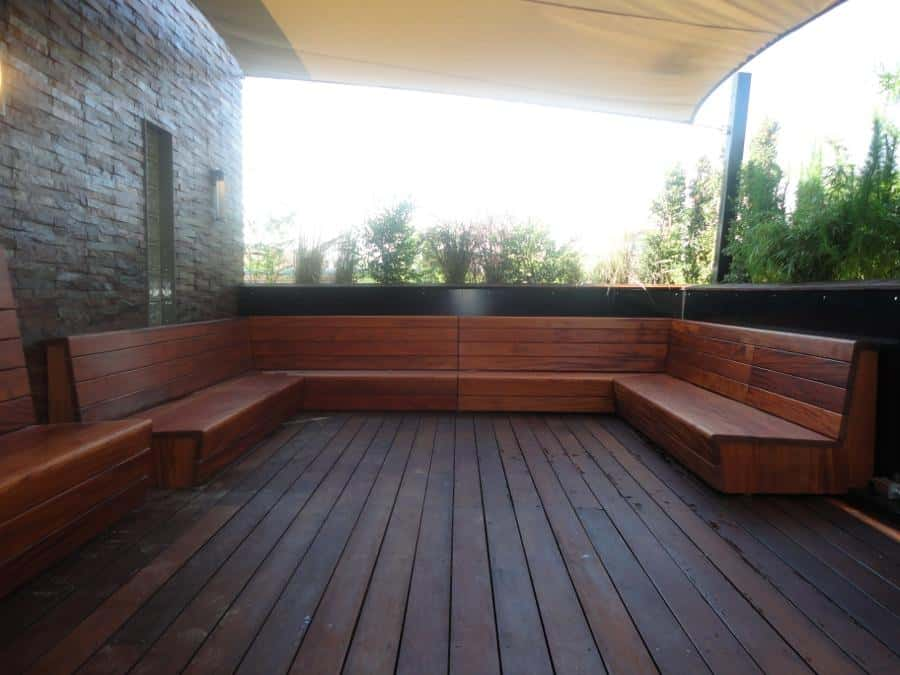 Ribbon African Mahogany Benches, made by Ted Germansen and Cameron Wilson