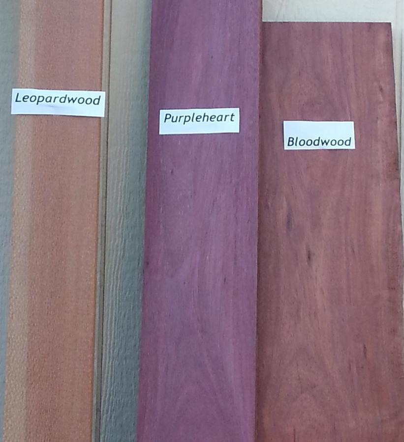 Purpleheart, Bloodwood, Leopardwood comparison