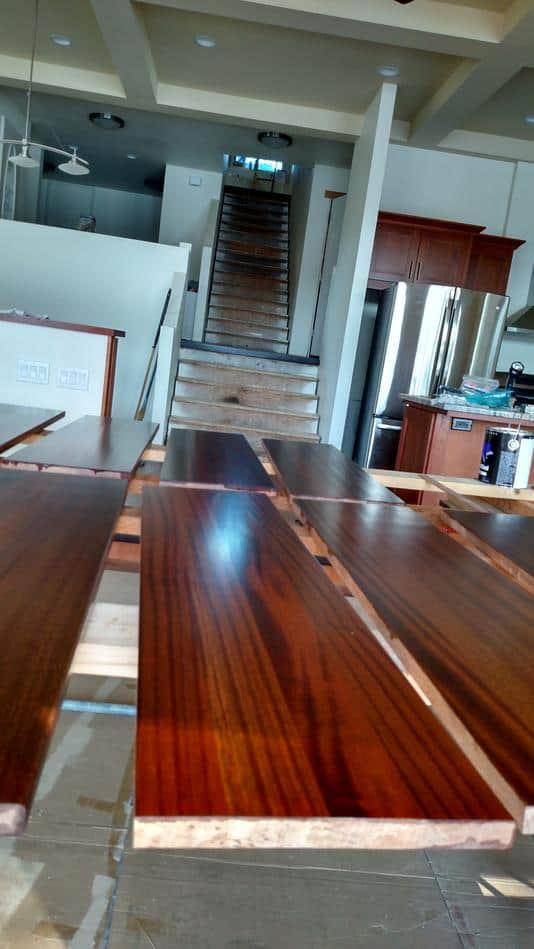 Quarter Sawn Sapele Stair Treads - Edge glued
