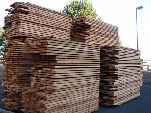 Western Red Cedar Lumber stacked