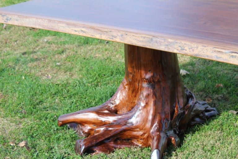 Log Base stained to your match your tabletop