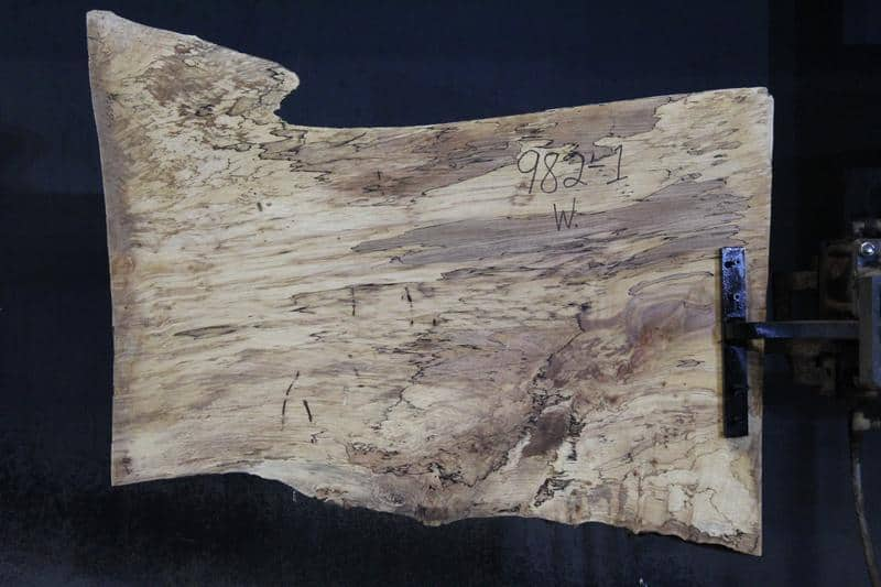 slab 982-1 Wide Side. Surfaced size 1.38″ x 20-28″ avg. 25″ x  3′ $395