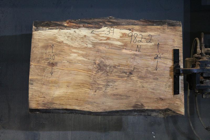 slab 982-2 Narrow Side. Surfaced size 1.75″ x 20-22″ avg. 21″ x  3′ $395