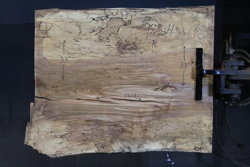 slab 982-4 Narrow Side. Surfaced size 1.5″ x 32-33″ avg. 32″ x  3′ $395