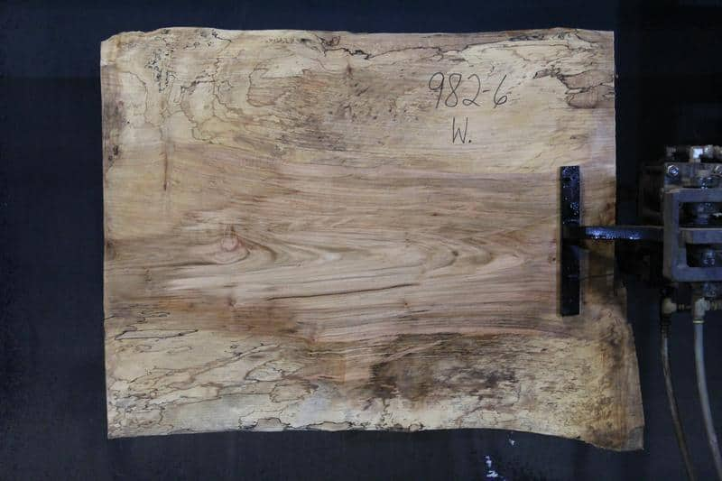 slab 982-6 Wide Side. Surfaced size 1.5″ x 29-33″ avg. 31″ x  3′ $395