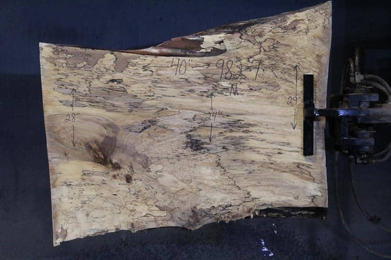 slab 982-7 Narrow Side. Surfaced size 1.5″ x 25-30″ avg. 26″ x  3′ $395
