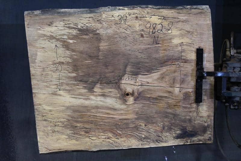 slab 982-8 Narrow Side. Surfaced size 1.5″ x 30-31″ avg. 30″ x  3′ $395