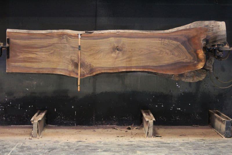 Walnut Slab 968-2,  rough size 2″ x 23-27″ avg. 25″ x  11′ $700