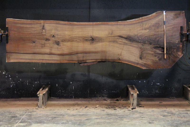 Walnut Slab 968-5,  rough size 2″ x 29-43″ avg. 32″ x  11′ $975