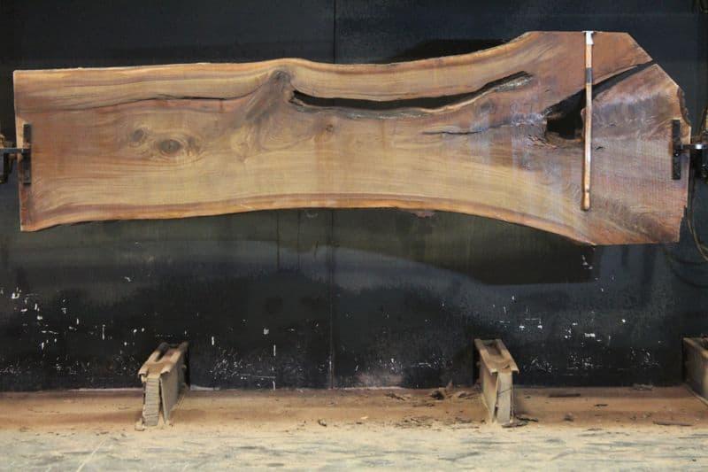 Walnut Slab 968-7,  rough size 2″ x 29-43″ avg. 32″ x  11′ $800