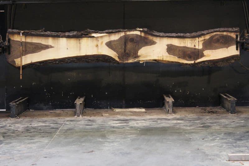Walnut Slab 915-8, rough size 2.5″ x 13-25″ avg. 18″ x  15′ $1150