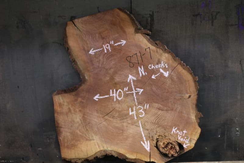Walnut Round 871-7, 3″ Thick, Kiln Dried, Rough. $725