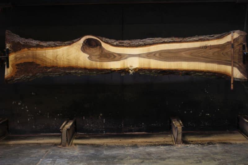 Walnut Slab 1005-1, rough size 2.25″ x 9-28″ avg. 14″ x 12′ $575