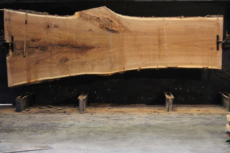 Siberian Elm Slab 945-10, rough size 2.5″ x 38-59″ avg. 44″ x 14′ $2250