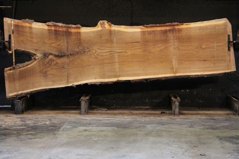 Siberian Elm Slab 945-4, rough size 2.5″ x 37-56″ avg. 40″ x 14′ $2000