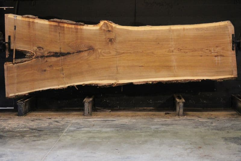 Siberian Elm Slab 945-5, rough size 2.5″ x 40-59″ avg. 42″ x 14′ $2200
