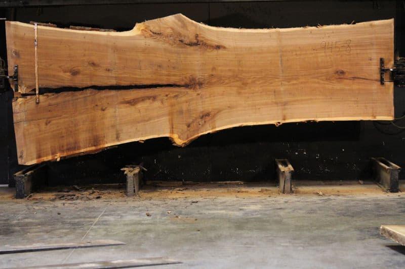 Siberian Elm Slab 945-8, rough size 2.5″ x 42-65″ avg. 48″ x 14′ $2400  * Sale pending TR #21-3043