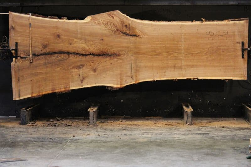 Siberian Elm Slab 945-9, rough size 2.5″ x 40-62″ avg. 47″ x 14′ $2400