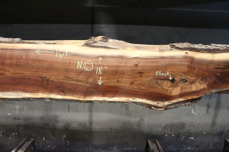 surfaced walnut slab 831-1 narrow face, center closeup