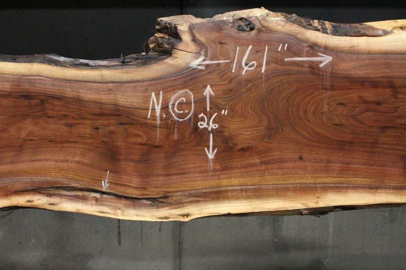 surfaced walnut slab 831-7 narrow face, center closeup