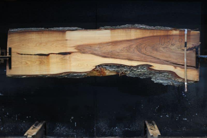 Red Elm Slab 1036-9, rough size 2.25″ x 19-28″ avg. 23″ x  9′ $650