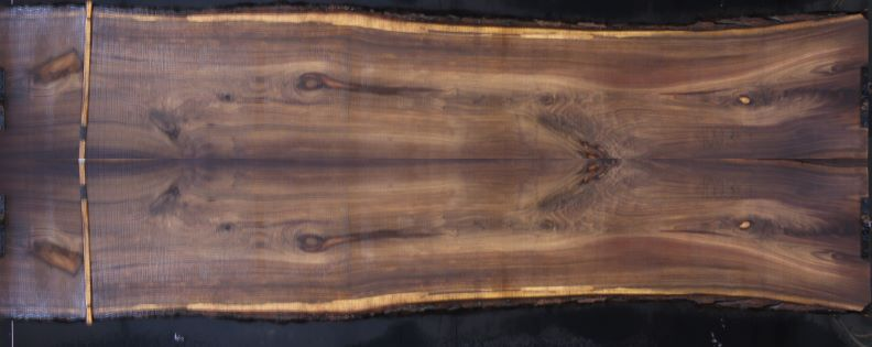 walnut slabs 1003-1&2 bookmatch simulation, approx. size 2″ x 55″ x 14′ Both Rough Slabs $3200. SALE PENDING 21-5026