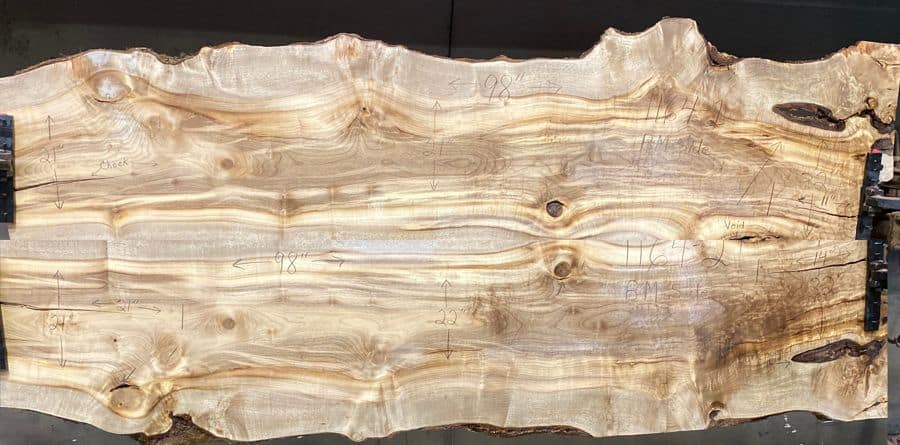 Simulated Book-match of myrtlewood slabs 1164-1&2 approximate finished size 1.75″ x  40″ x 88″ both surfaced slabs $2450