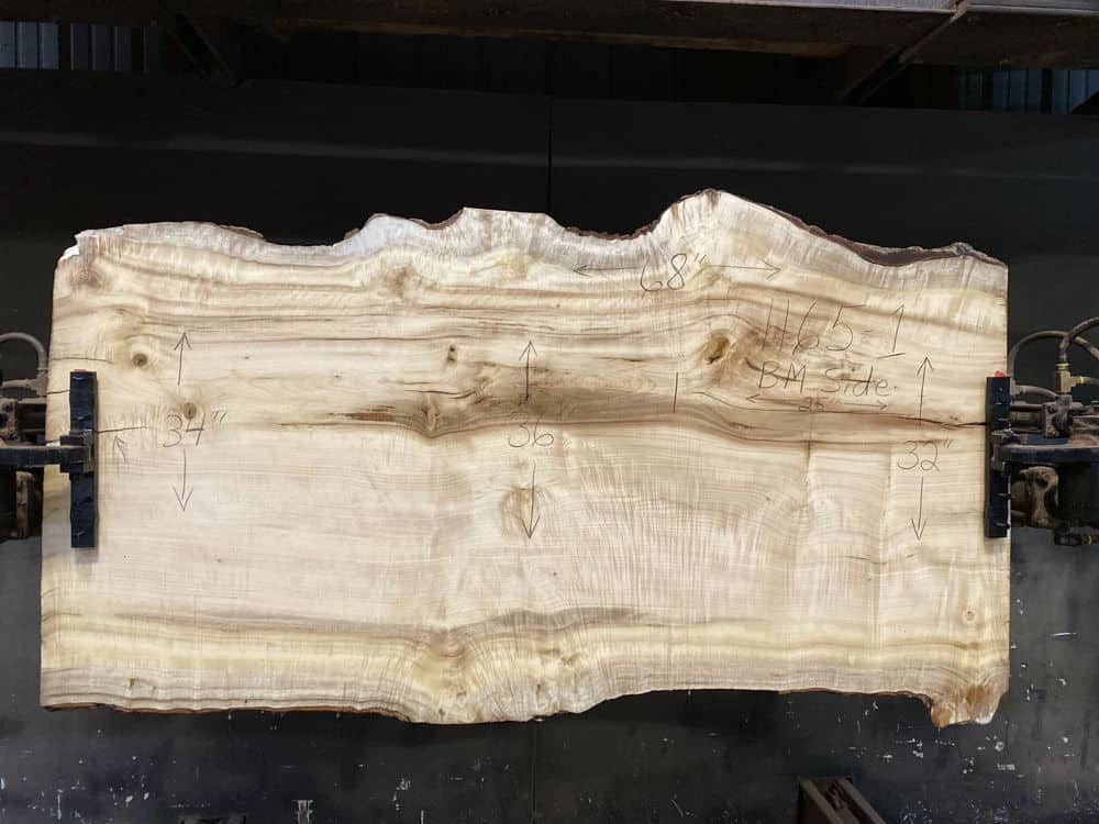 Myrtlewood Slab 1165-1, Surfaced size 2.5″ x 32-37″ avg. 34″ x  68″ $1875