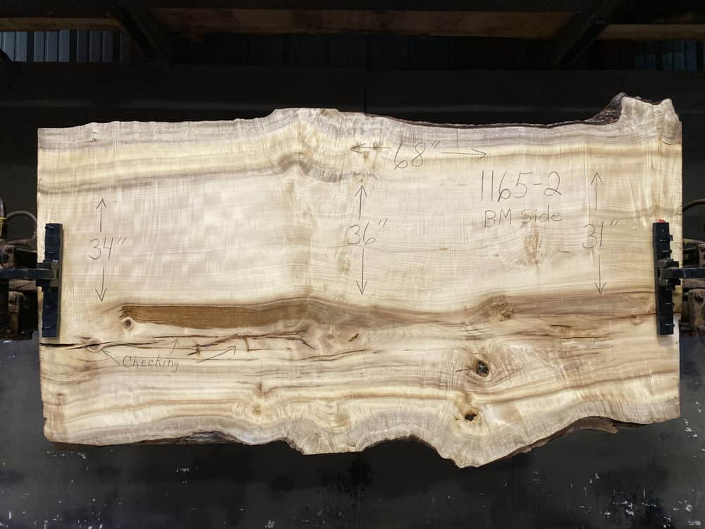 Myrtlewood Slab 1165-2, Surfaced size 2.5″ x 31-36″ avg. 34″ x  68″ $1900