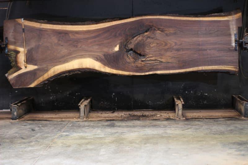 Walnut Slab 1025-1, rough size 2.5″ x 31-50″ avg. 39″ x 14′ $2400