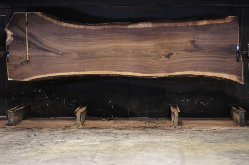Walnut Slab 1025-3, rough size 2.5″ x 35-50″ avg. 39″ x 14′ $4500 SALE PENDING PO 20-7140 11-25-20