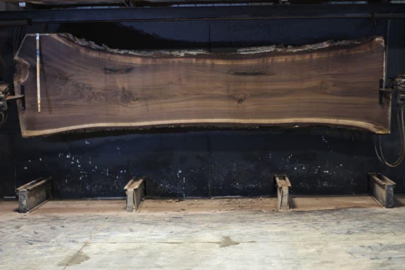 Walnut Slab 1025-5, rough size 2.5″ x 30-49″ avg. 34″ x 14′ $3200