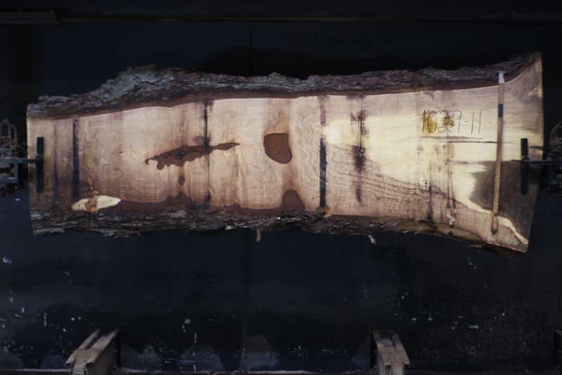 Walnut Slab 1029-11, rough size 2.5″ x 14-37″ avg. 26″ x 9′ $875