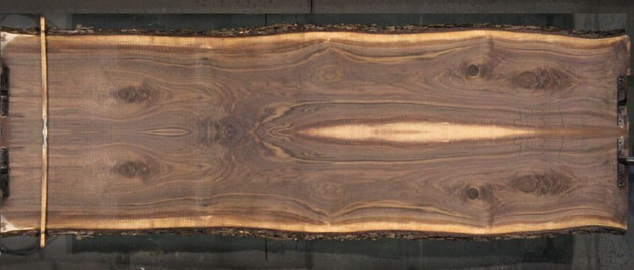 walnut slabs 953-7&8 bookmatch  simulation, approx. size 2″ x 44″ x 13′ Both Rough Slabs $2450