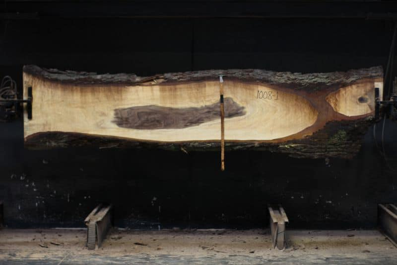Walnut Slab 1008-1, rough size 2.5″ x 14-22″ avg. 19″ x 11′ $600