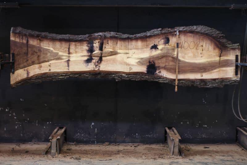 Walnut Slab 1008-11, rough size 2.5″ x 16-27″ avg. 21″ x 11′ $600