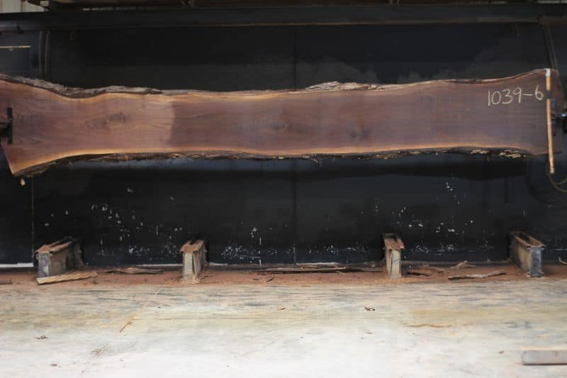 Walnut Slab 1039-6, rough size 2.5″ x 19-29″ avg. 21″ x 15′ $1450