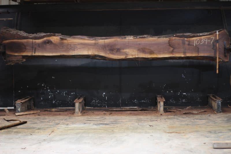 Walnut Slab 1039-7, rough size 2.5″ x 12-22″ avg. 26″ x 15′ $950