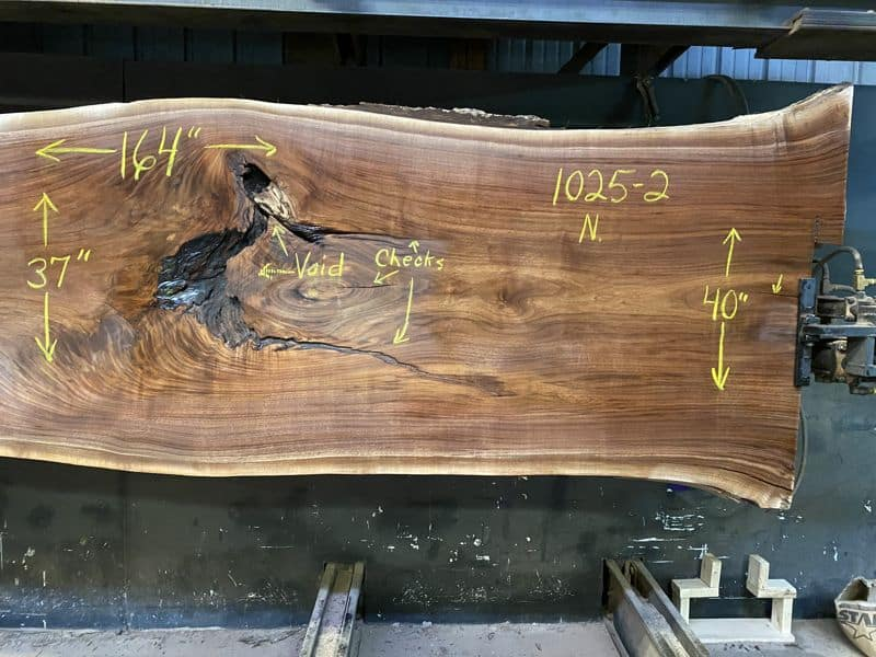 1025-2 Surfaced Walnut Slab Right Side Close-Up
