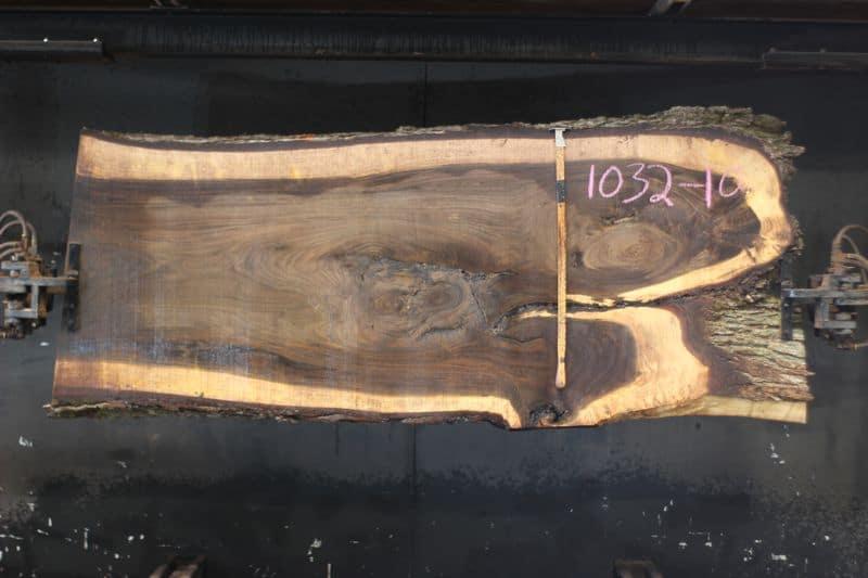 walnut slab 1032-10 rough size 2.5″ x 17-40″ avg. 35″ x 9′ $1525