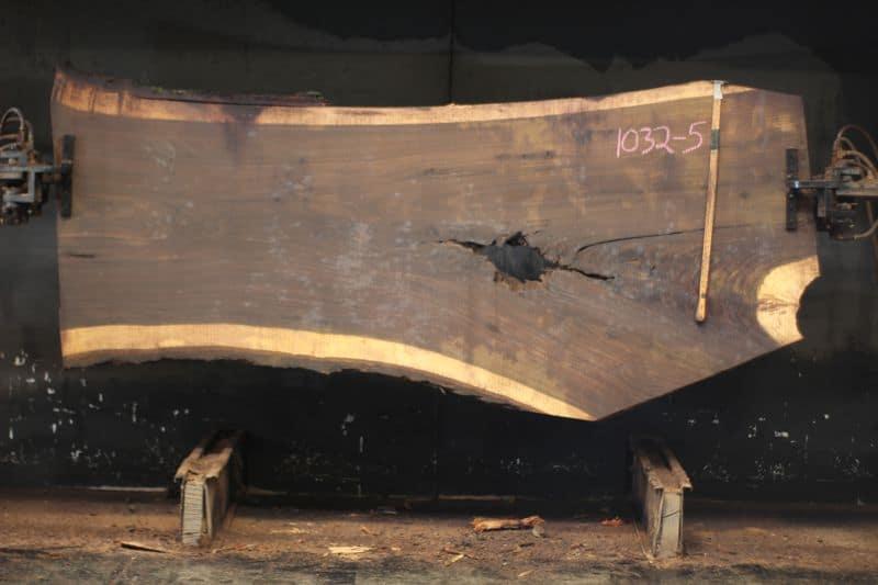 walnut slab 1032-5 rough size 2.5″ x 36-49″ avg. 41″ x 8′ $1875