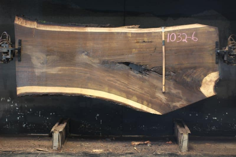 walnut slab 1032-6 rough size 2.5″ x 39-49″ avg. 42″ x 9′ $1875