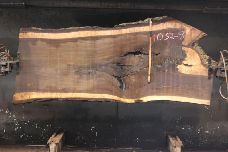 walnut slab 1032-8 rough size 2.5″ x 36-45″ avg. 38″ x 9′ $1675