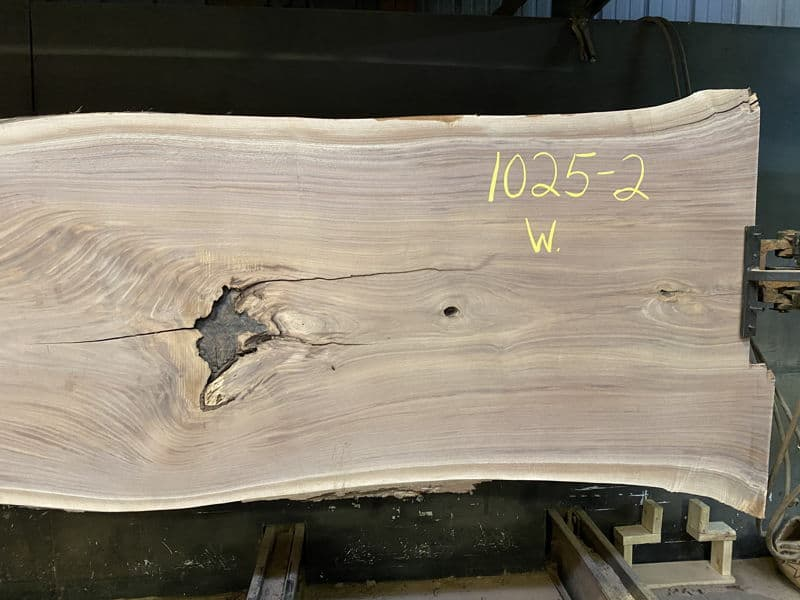 1025-2 Surfaced Walnut Slab Right Side Close-Up, Wider Face