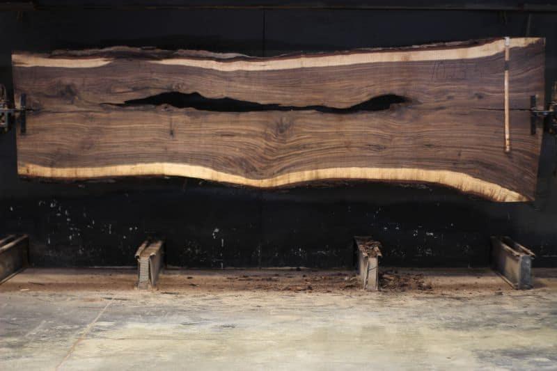 Walnut Slab 1023-5, rough size 2.5″ x 36-51″ avg. 40″ x 13′ $1500