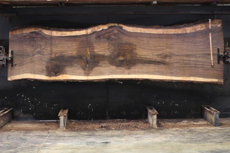 Walnut Slab 1023-8, rough size 2.5″ x 37-48″ avg. 40″ x 13′ $2100 SALE PENDING 11-17-20 LS