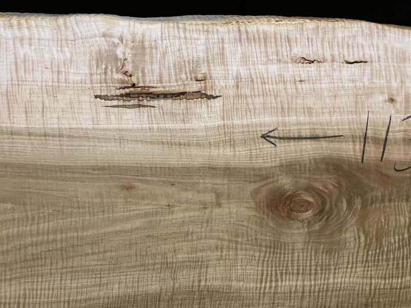 Close-up of center of curly maple slab 929-3