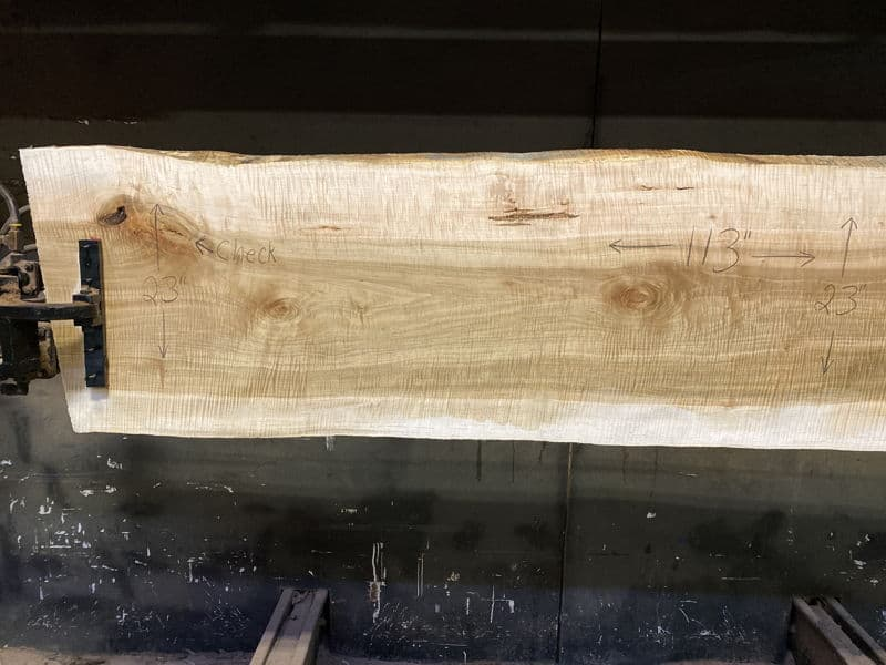curly maple slab 929-3 narrower face, left side