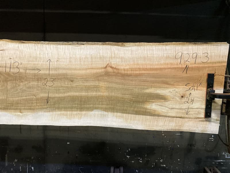 curly maple slab 929-3 narrower face, right side