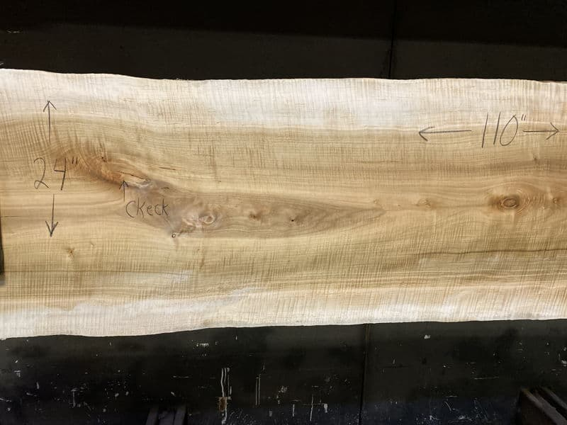 curly maple slab 929-4 narrow face, left side
